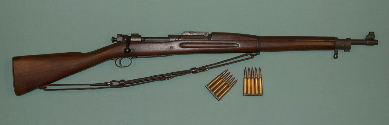 Alvin York Springfield rifle with ammunition